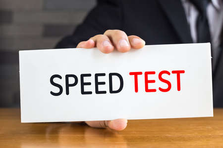 Speed test, message on white card and hold by 