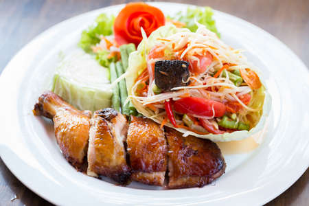 grilled food: Grilled chicken and papaya salad, Thai food