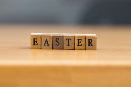 wood block: Easter. word written on wood block Stock Photo