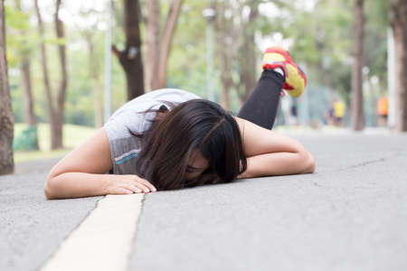 stumble: Accident. stumble and fall while jogging