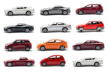Kant van het speelgoed auto geïsoleerd op een witte achtergrond Stockfoto