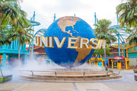 SINGAPORE - August 29: The Universal Studios globe in front of Universal Studios Singapore on August 29, 2015 in the morning on Sentosa island, Singapore