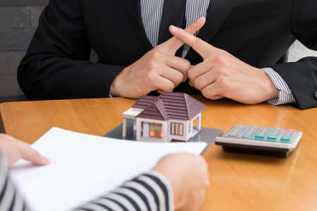 loans: Banks refuse loans to buy homes. Real Estate concept