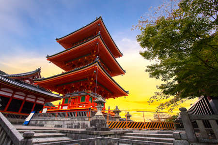 Red pagoda in Kiyomizu-dera Temple, Kyoto, Japan Stock Photo