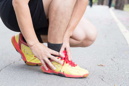 Achilles tendinitis, Sport injury concept Stock Photo