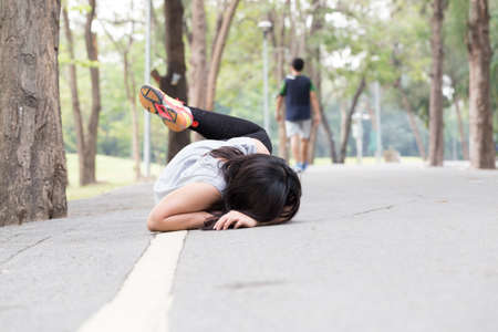 Accident. stumble and fall while running in park
