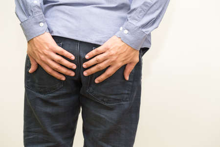 Hemorrhoid symptoms from rectal cancer 스톡 콘텐츠