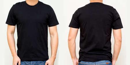 Schwarzes T-Shirt vorne und hinten, Mock-up-Vorlage für Designdruck