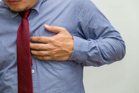 Symptomen van hartziekte, waarschuwingssignalen van hartfalenconcept Stockfoto