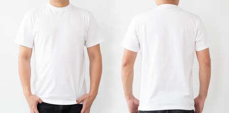 T-shirt blanc à l'avant et à l'arrière, modèle de maquette pour l'impression de conception