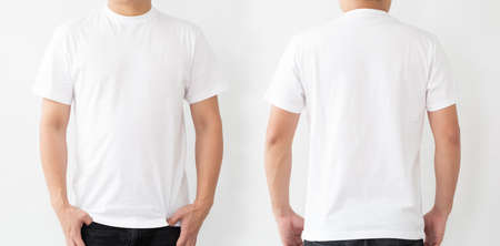 White T-Shirt front and back, Mockup template for design print Foto de archivo - 128808895