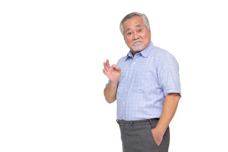 Portrait of senior asian man showing ok sign isolated over white background, Mature man looking at camera