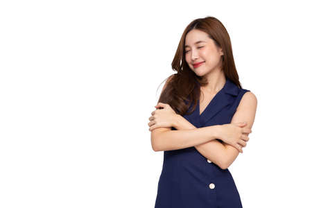 Young Asian woman call center isolated over white background, Telemarketing sales or Customer service operators in headsets concept
