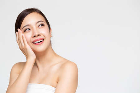 Closeup of Asian beauty woman with clean fresh skin, Cosmetology concept