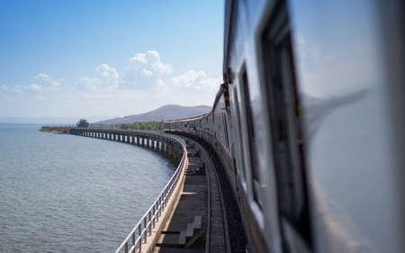 Tourism train stop on concrete bridge, Pa Sak Dam