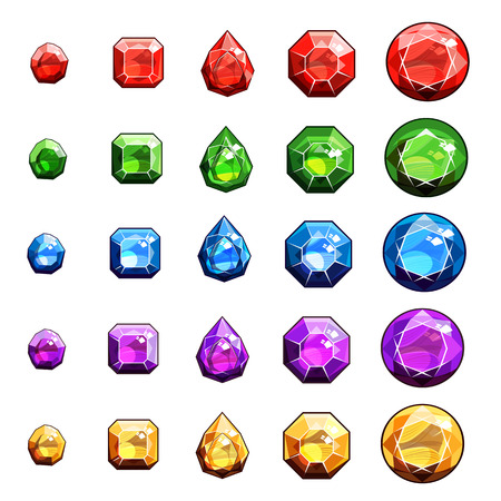 Gems And Diamonds Icons Set
