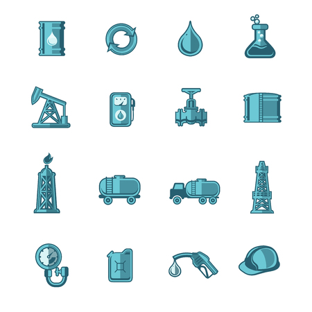 gaz: Oil Industry Icons Set Illustration