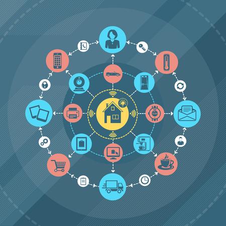 inteligencia: iconos infograf�a plana. casa inteligente e internet de las cosas concepto. Vectores