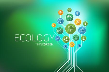 Ecología elementos infográficos y los iconos de árbol. Piensa Verde