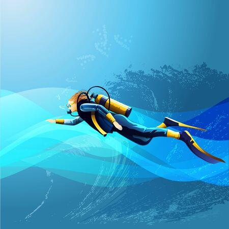 scuba diver: Scuba diver girl on blue sea background