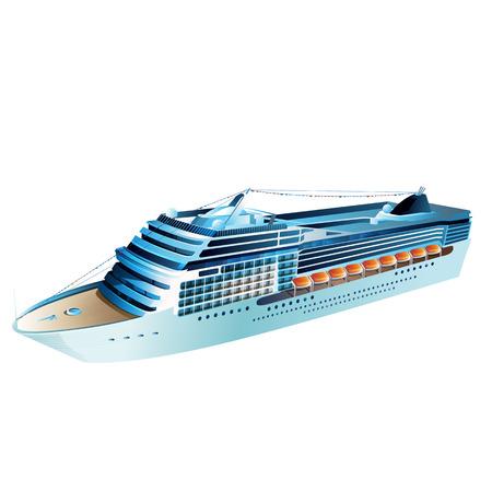 illustrazione vettoriale nave da crociera su uno sfondo bianco