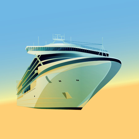 ocean liner: Ocean liner vector illustration on a gradient background Illustration