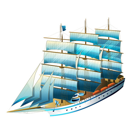 frigate: Sailing ship vector illustration on a white background