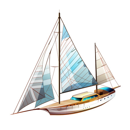 Yacht sailing vector illustration on a white background