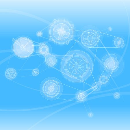 intro: Stylish background with the mechanisms and line elements on a blue background. Illustration
