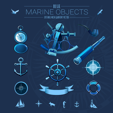 horse pipes: Blue marine objects, editable mesh gradient vector. Illustration