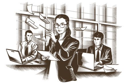 discussing: Business partners discussing documents and ideas at meeting. engraved illustration.