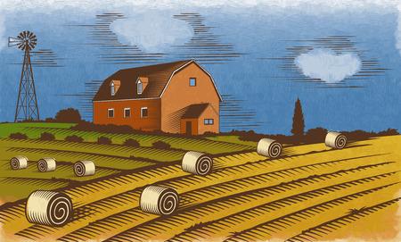 homestead: Farm landscape. Stylized engraved color illustration.