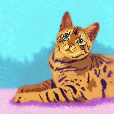 bengal: Bengal Cat. Watercolor sketch illustration of a cat at home.