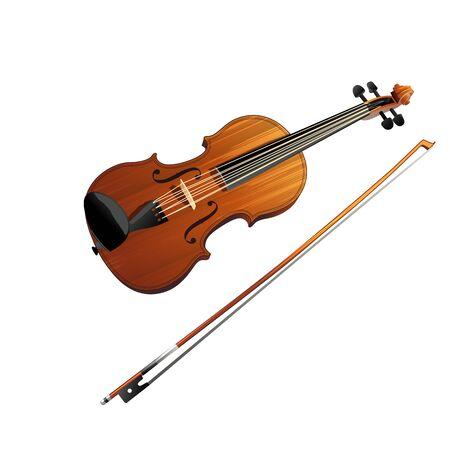 Violin illustration on a white background