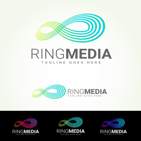 tagline: Ring Media Logotype and Tagline. Vector template. Illustration