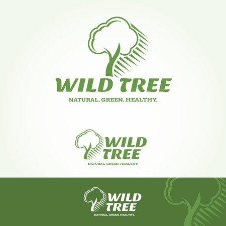 tagline: Wild Tree Logotype and Tagline. Vector template.