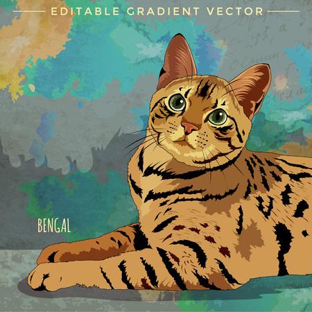 Gato de Bengala. ilustración vectorial de un gato en casa.