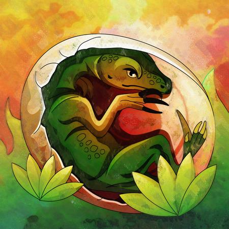 hatchling: Illustration of a dinosaur in its habitat. Stock Photo