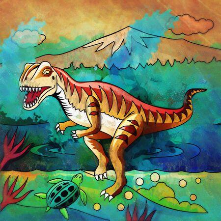 Velociraptor. Illustration of a dinosaur in its habitat. Stock Photo