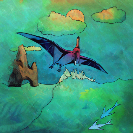 Pterosaurs. Illustration of a dinosaur in its habitat. Stock Photo