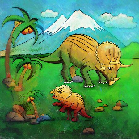 Triceratops. Illustration of a dinosaur in its habitat.