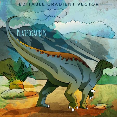 Plateosaurus. Vector illustration of a dinosaur in its habitat. Illustration