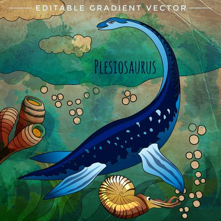 Plesiosaurus. Vector illustration of a dinosaur in its habitat. Illustration