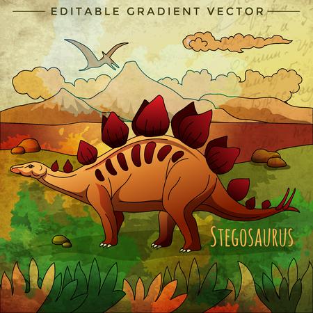 stegosaurus: Stegosaurus. Vector illustration of a dinosaur in its habitat. Vectores