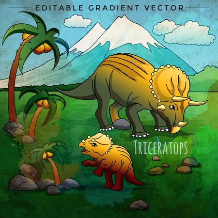 triceratops: Triceratops. Vector illustration of a dinosaur in its habitat. Illustration