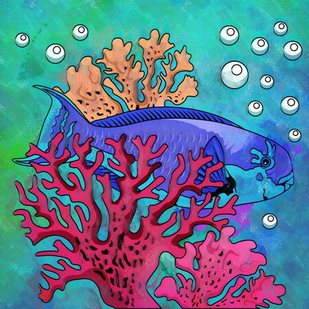 fighting fish: Fish in aquarium. Bright colorful watercolor illustration.