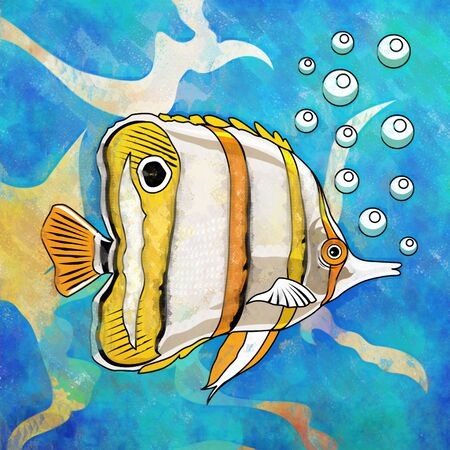 Fish in aquarium. Bright colorful watercolor illustration.