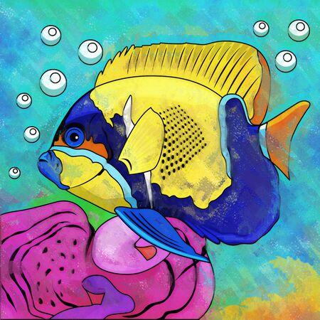 barbus: Fish in aquarium. Bright colorful watercolor illustration.