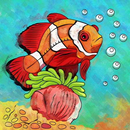 ichthyology: Fish in aquarium. Bright colorful watercolor illustration.