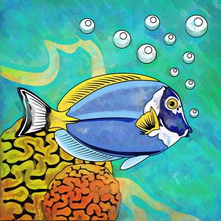 Fish in aquarium. Bright colorful watercolor illustration.